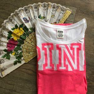 PINK white Victoria's Secret Athletic Tee Shirt L
